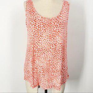 📦 Loft Sleeveless Orange Speckled Polka Dot Shirt